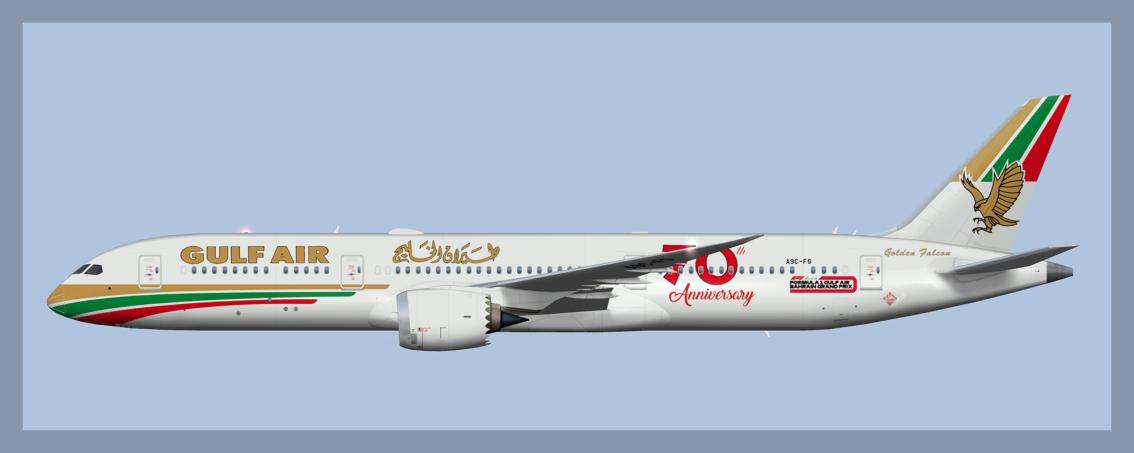 Gulf Air Boeing 787-9 70thAnniversary