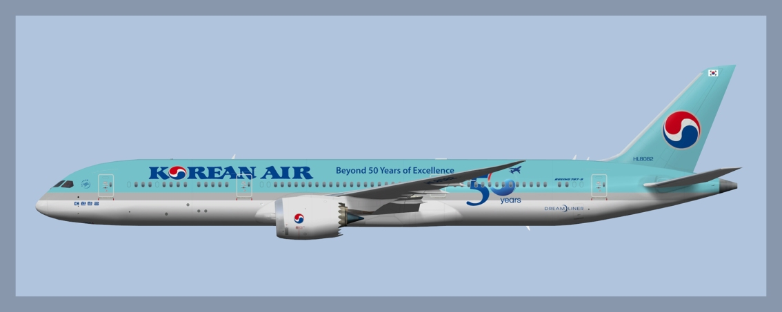 Korean Air Boeing 787-9 Fleet 2020