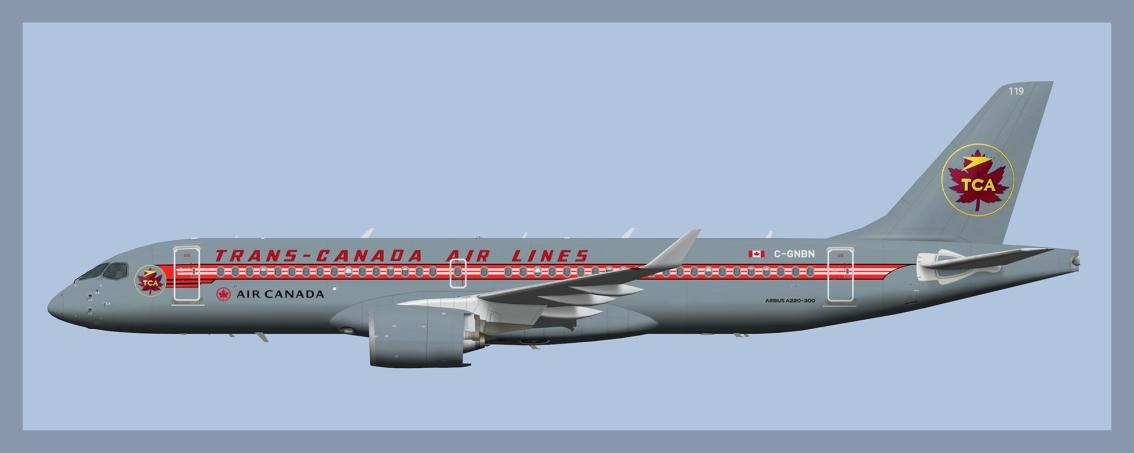 Air Canada Airbus A220-300 C-GNBNRetro